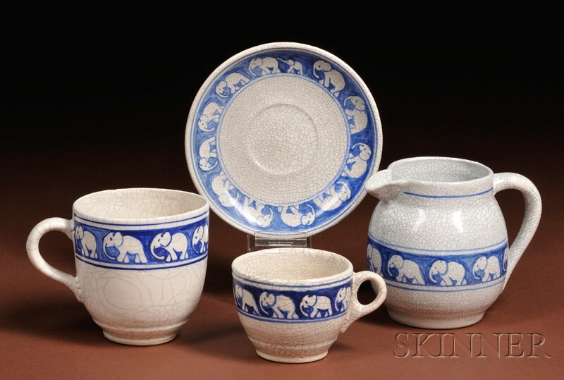 Dedham Pottery Elephant Pitcher, Mug, Teacup and Saucer