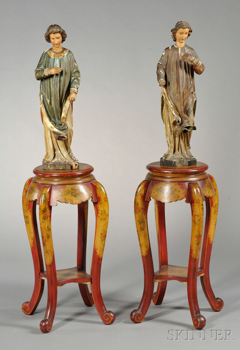 Pair of Italian Painted and Gesso Figures