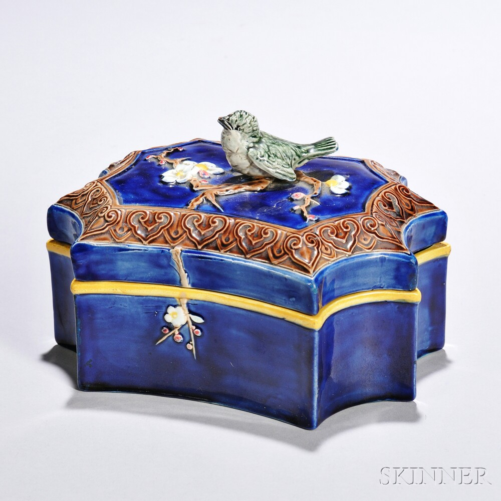 Majolica Jewel Box and Cover