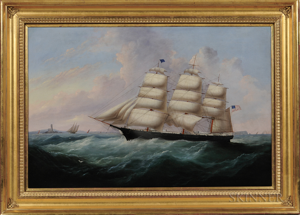 Attributed to John Hughes (British, 1806-1880)      Portrait of the Vessel Mary O'Brien   of Thomaston, Maine