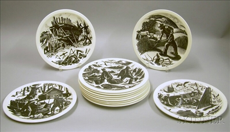 Set of Twelve Wedgwood Claire Leighton Plates