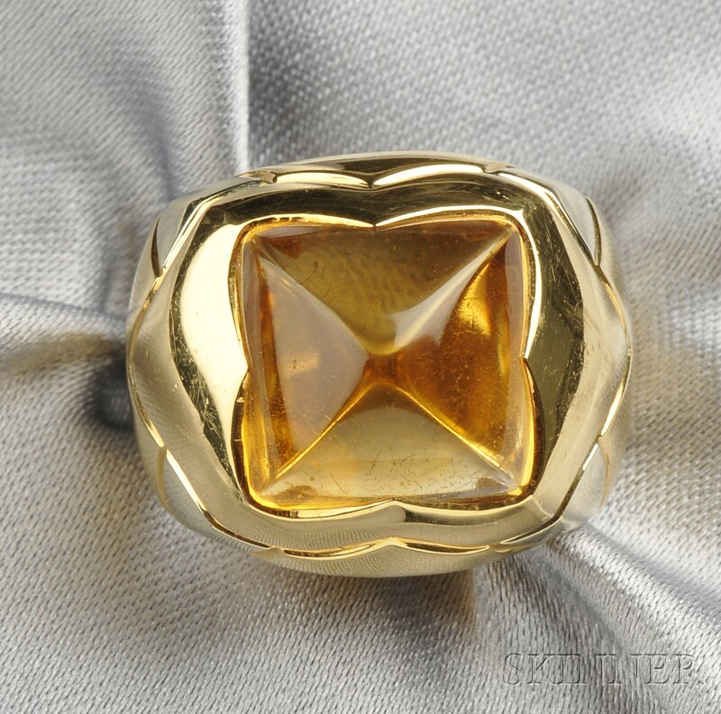 "18kt Gold and Citrine ""Pyramid"" Ring, Bulgari"