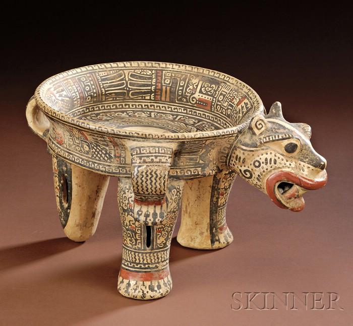 Pre-Columbian Polychrome Pottery Jaguar Tripod Bowl