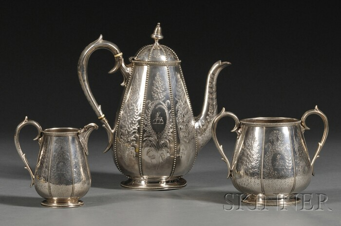 Victorian Silver-plate Three-piece Coffee Service