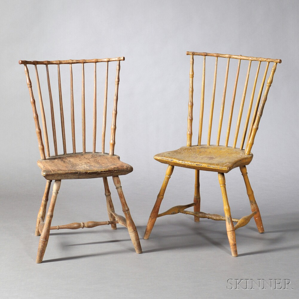 Pair of Yellow-painted Bamboo-turned Windsor Side Chairs
