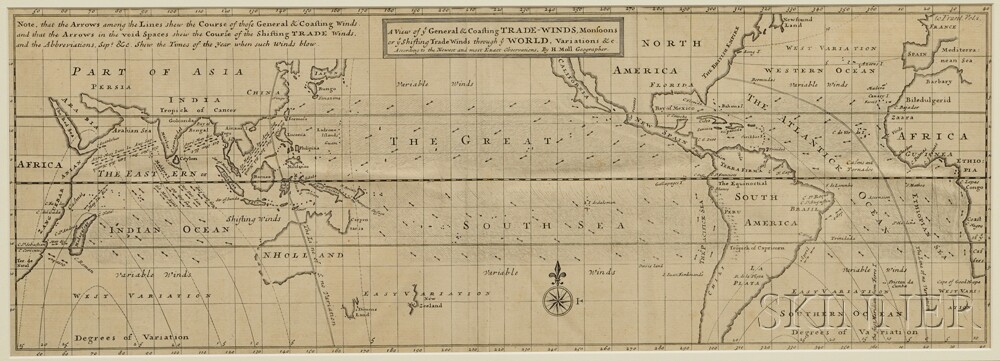 World Oceanic Chart. Hermann Moll (1654-1732) A View of ye General & Coasting Trade-Winds, Monsoons or ye Shifting Trade Winds through