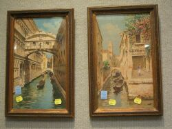 Pair of Framed Watercolor Venetian Views