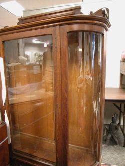 Late Victorian Carved Oak Demi-lune China Cabinet.