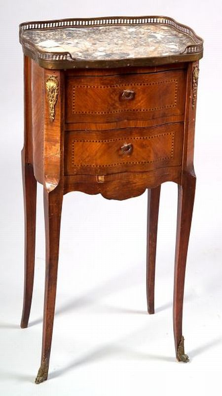 Louis XV/XVI-style Parquetry Inlaid and Marble-top Two-drawer Side Chest