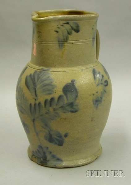 Cobalt Floral Decorated Two-Gallon Stoneware Pitcher.