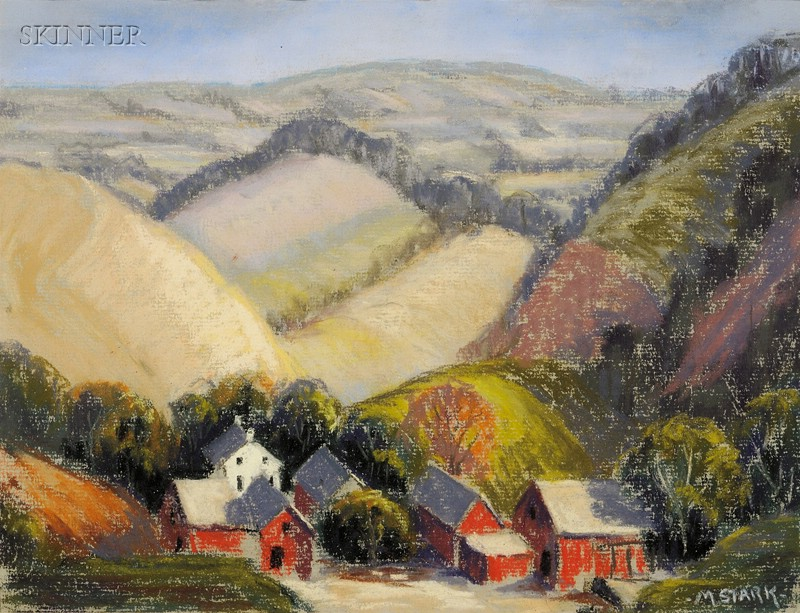 Lot of Two Landscapes:      Frank W. Handlen (American, b. 1916), View with Waterfall