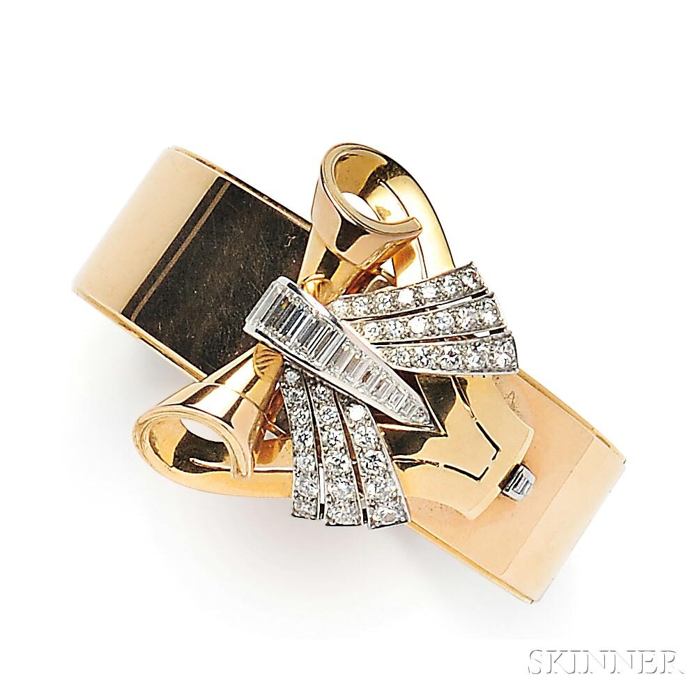 18kt Gold, Platinum, and Diamond Bracelet/Dress Clip, Tiffany & Co.