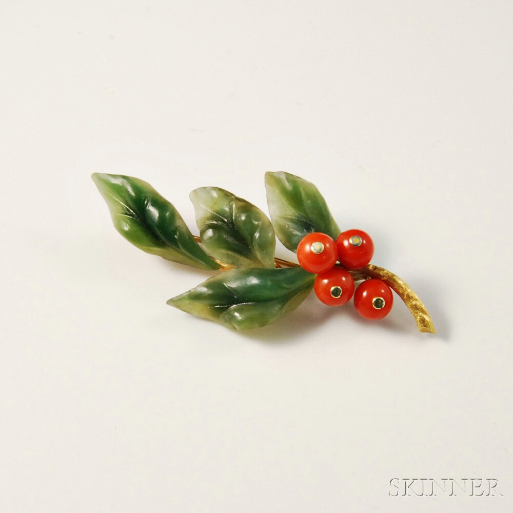 18kt Gold, Nephrite, and Coral Brooch