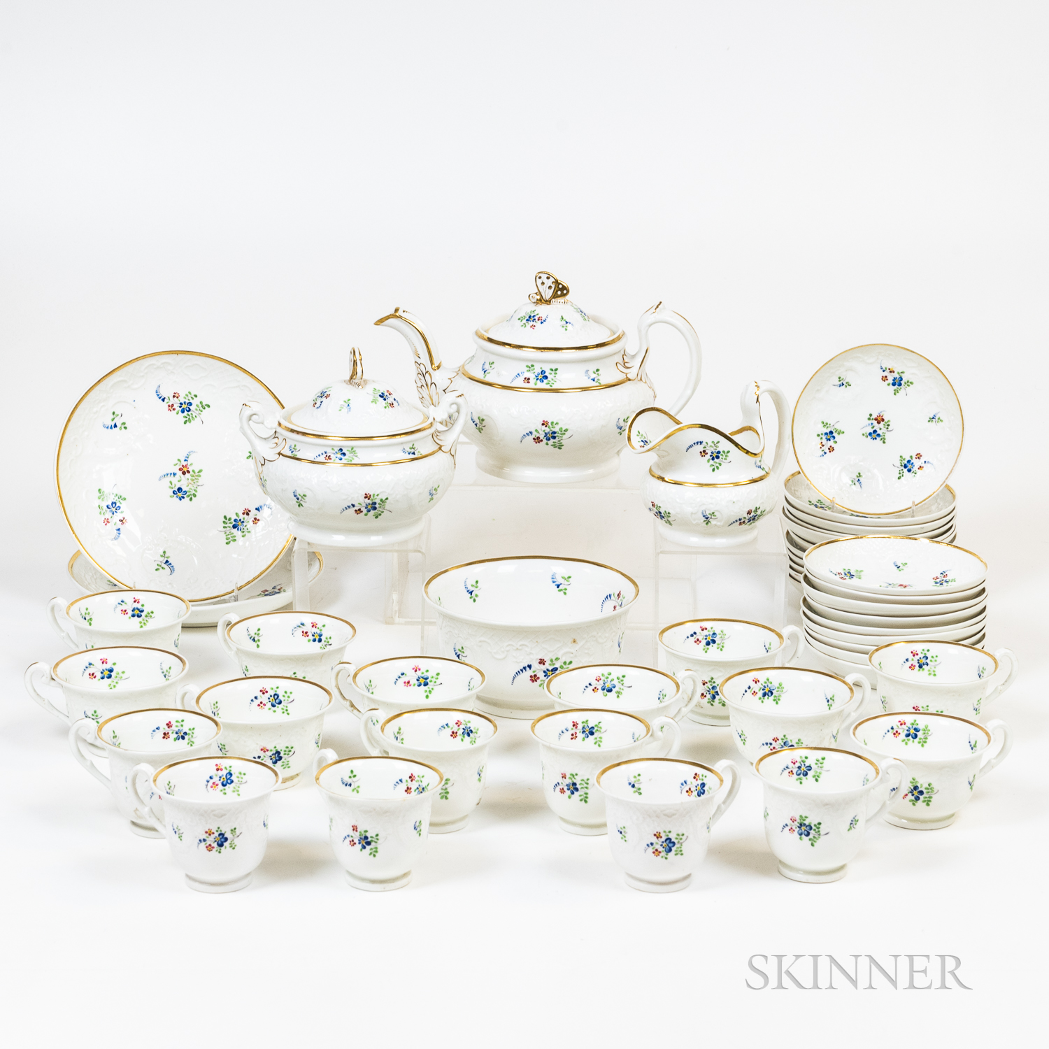 English Floral-and Gilt-decorated Tableware