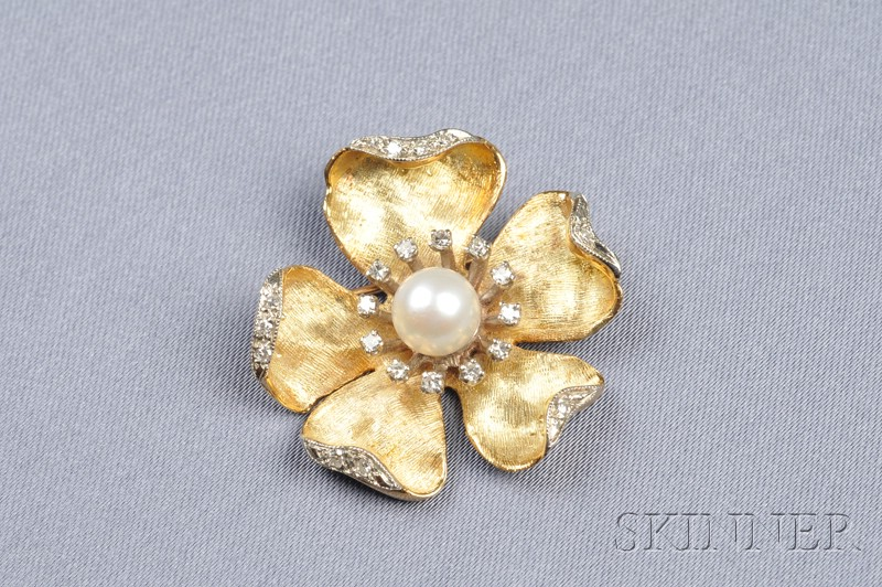 18kt Gold, Cultured Pearl, and Diamond Flower Brooch