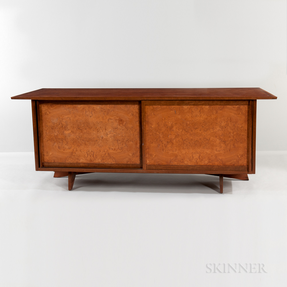 George Nakashima (1905-1990) for Widdicomb Origins Collection Walnut and Burlwood Bow-front Credenza