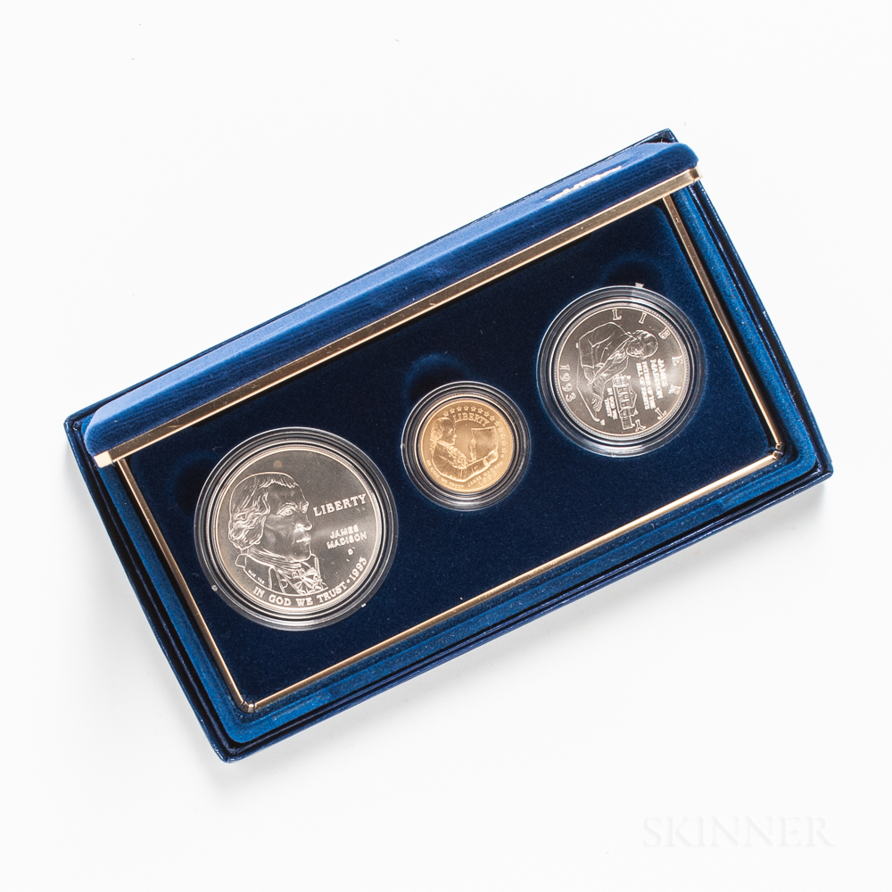 1993 Bill of Rights Uncirculated Three-coin Set.     Estimate $300-500