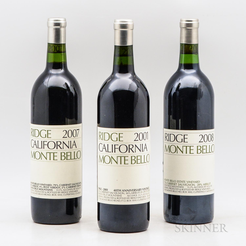 Ridge Monte Bello, 3 bottles