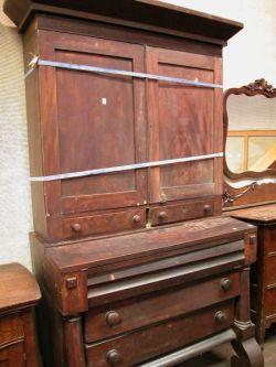 Empire Mahogany Veneer Desk Bookcase.