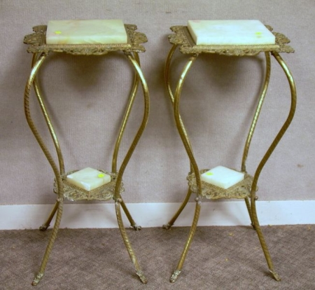 Pair of Victorian Cast Brass and Alabaster Stands.