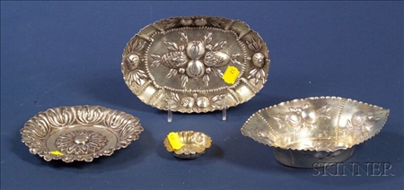 Four Continental Silver Repousse Side Bowls