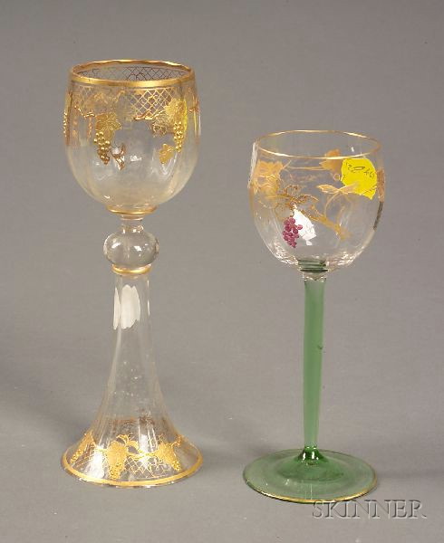 Fourteen Enameled and Gilt-decorated Wine Stems