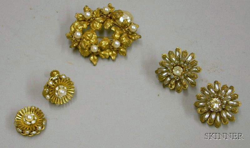 Miriam Haskell Brooch and Two Pairs of Miriam Haskell Earrings, 1950s-60s