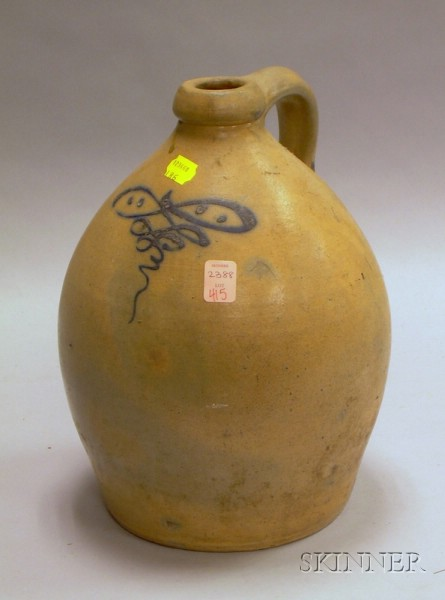 Cobalt Decorated Stoneware Jug.