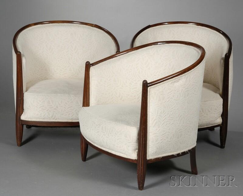 Three Art Deco Salon Chairs