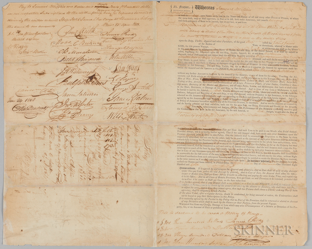 Insurance Document for the Ship John B. James