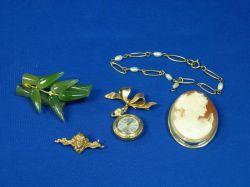 Cameo Pin, Lapel Watch pin, Nouveau Bar Pin, Nephrite and Bamboo Pin, Freshwater Pearl