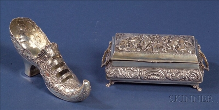 Two Continental Silver Dresser Articles