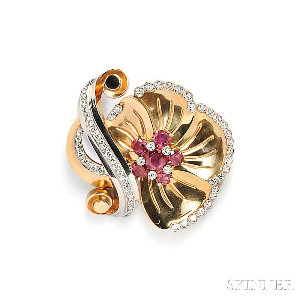 Retro 14kt Gold, Ruby, and Diamond Flower Brooch