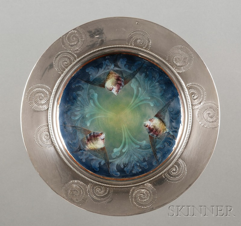 French Art Nouveau .950 Silver, Copper Enamel and Marble Tazza