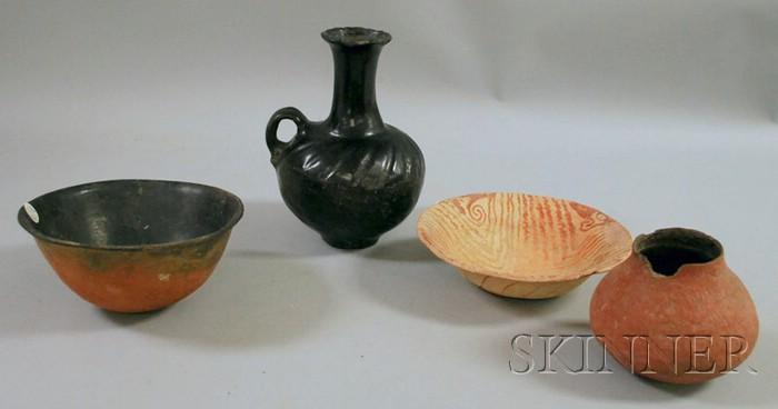 Three Prehistoric Pots and a Santa Clara Southwest Pottery Vase.