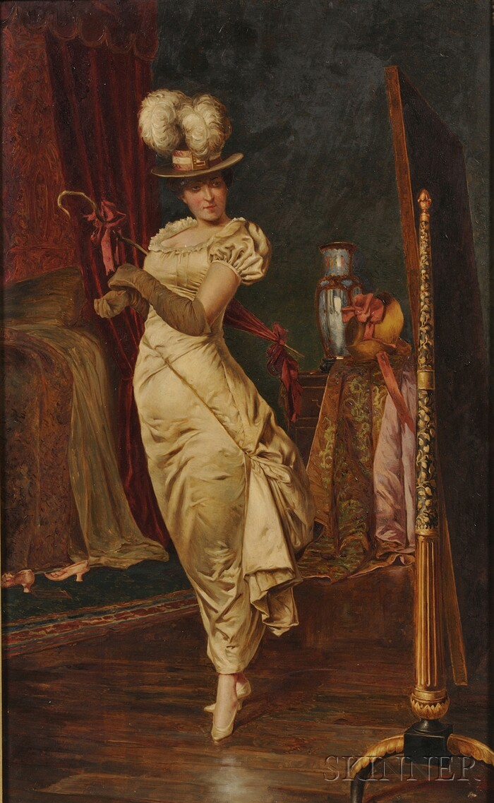 Frédéric Soulacroix (French, 1858-1933)      Lady Before a Dressing Mirror