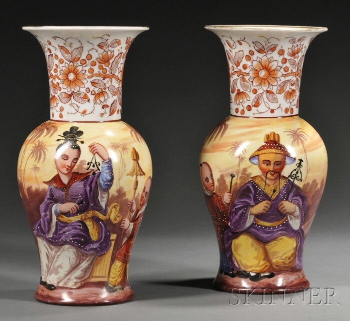 Pair of Paris Porcelain Hand-painted Vases in the Chinese Taste