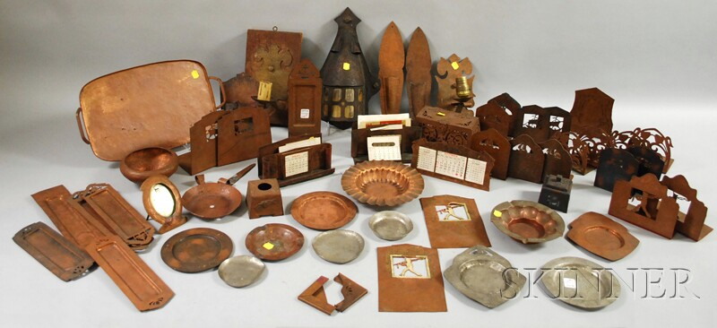 Approximately Forty-five Pieces of Arts & Crafts Mostly Hammered and Wrought   Copperwork