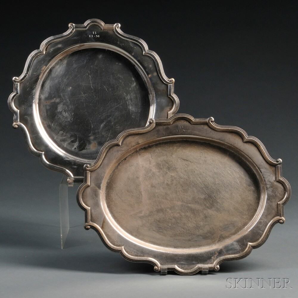 Two Sterling Silver Serving Platters