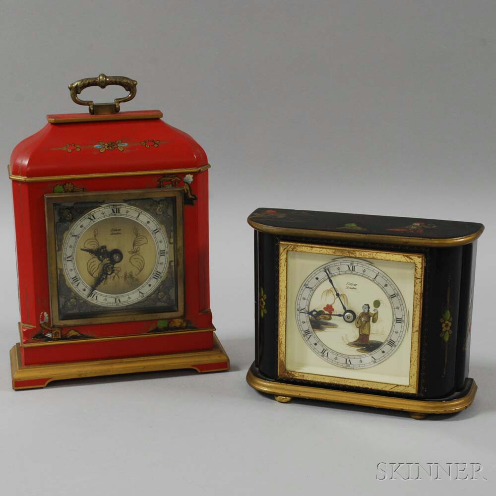 Two Chinoiserie-decorated Elliott Mantel Clocks