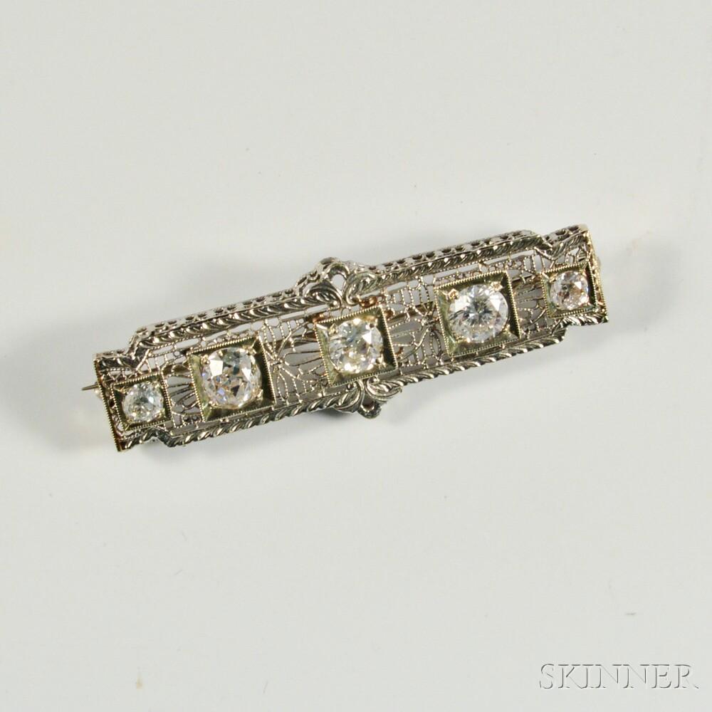 Art Deco Platinum, 14kt White Gold, and Diamond Bar Brooch