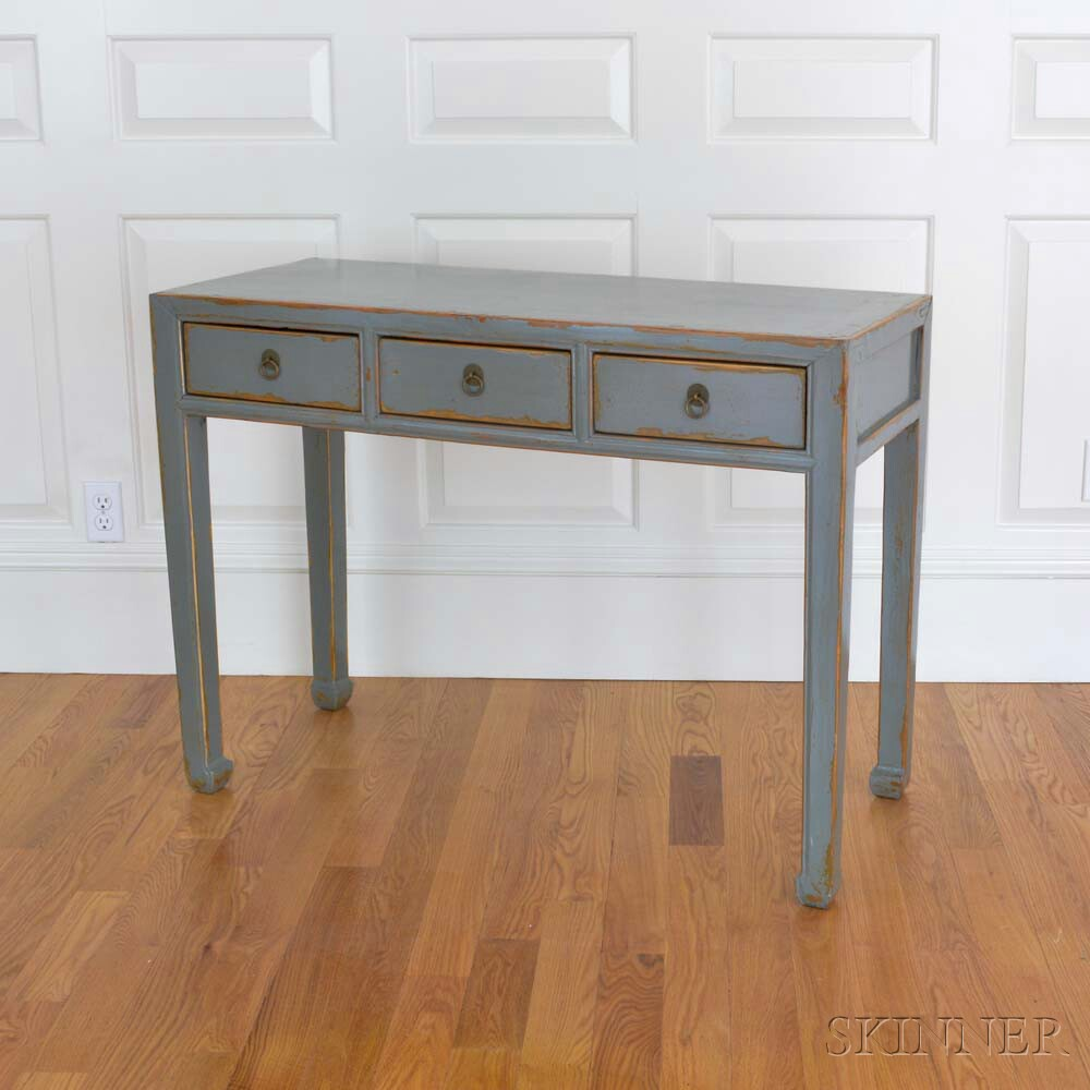 Pair of Four Hands Chinese-style Robin's Egg Blue-lacquered Three-drawer Console Tables