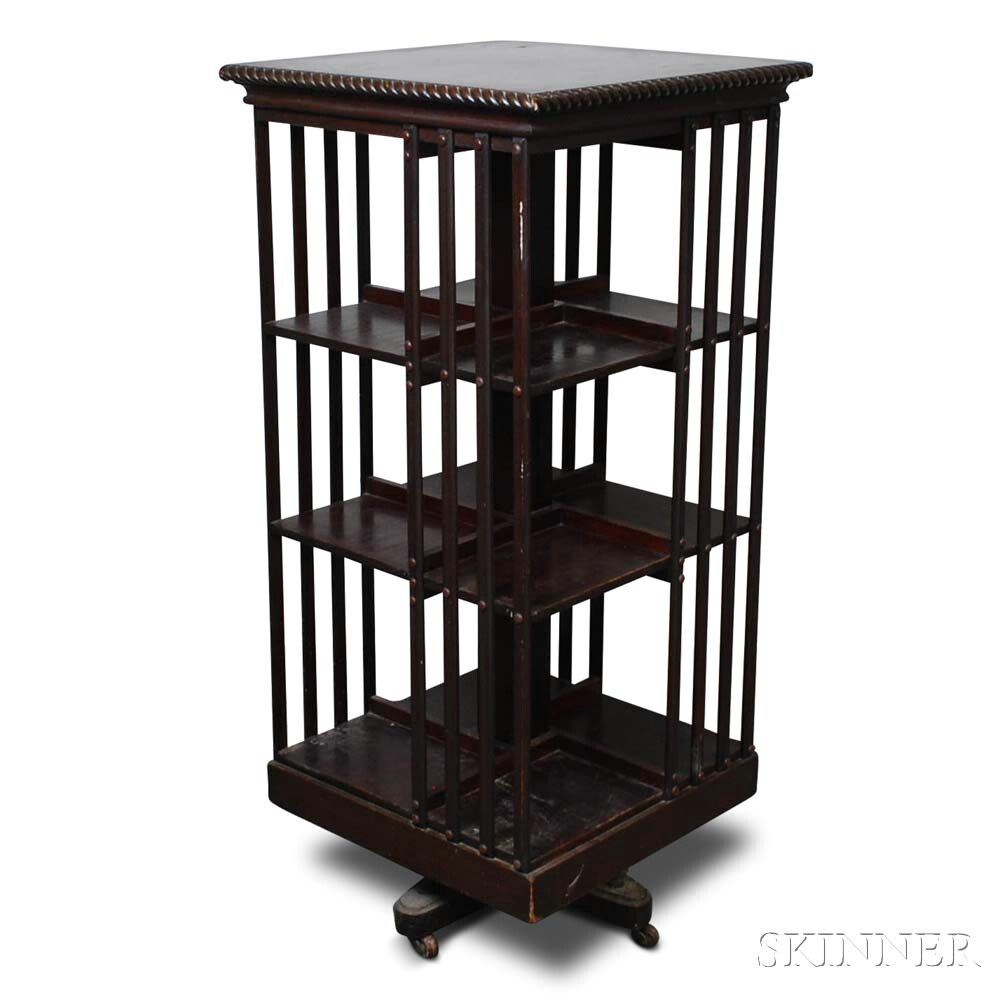 Late Victorian Mahogany Three-tier Revolving Bookcase