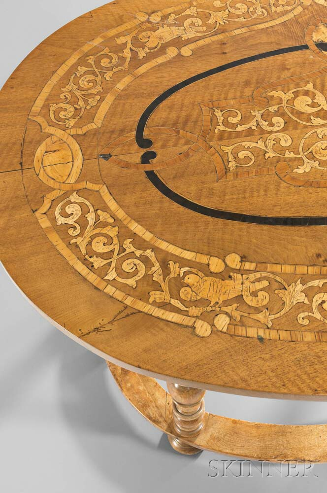 German Inlaid Walnut Oval-top Center Table