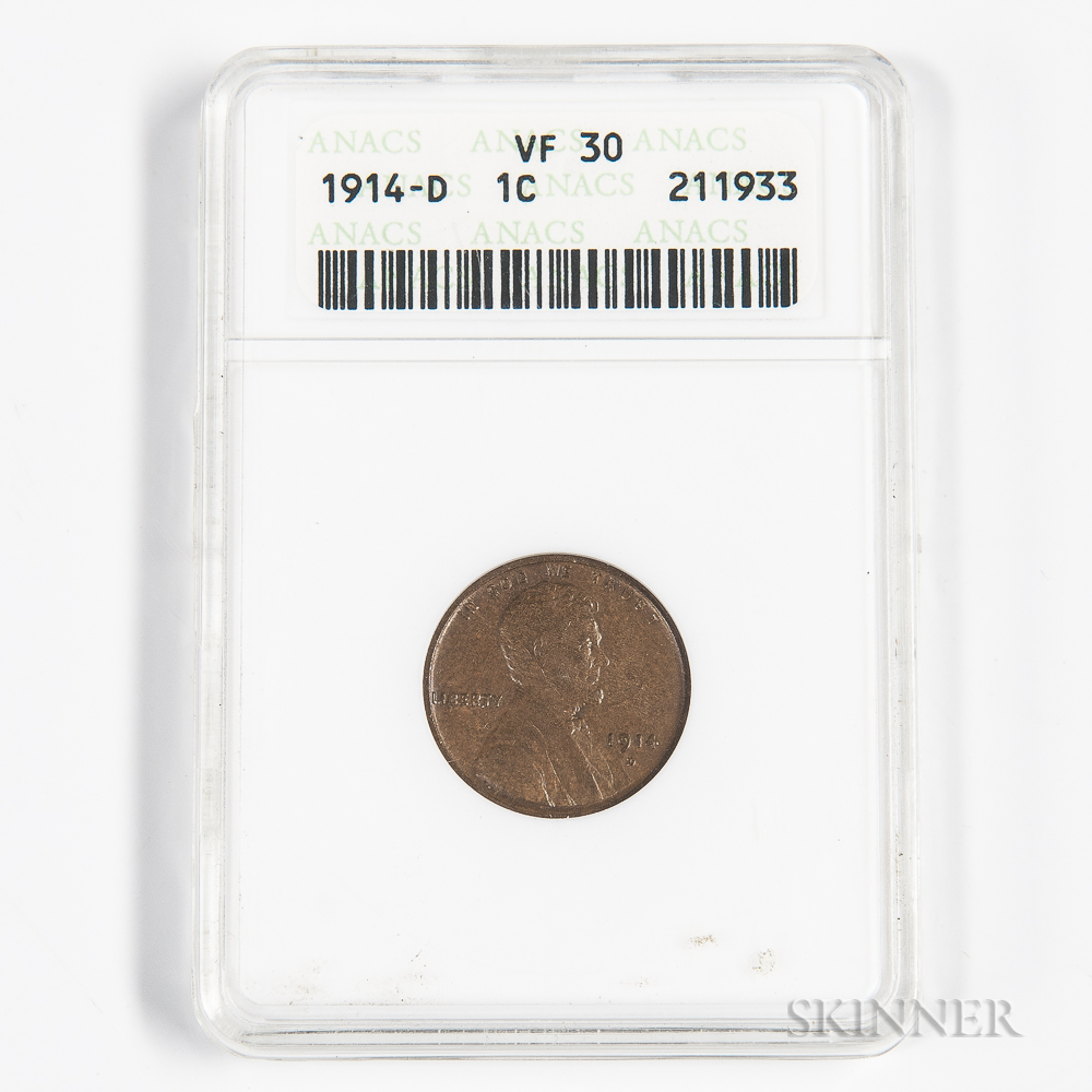 1914-D Lincoln Cent, ANACS VF30.     Estimate $150-250