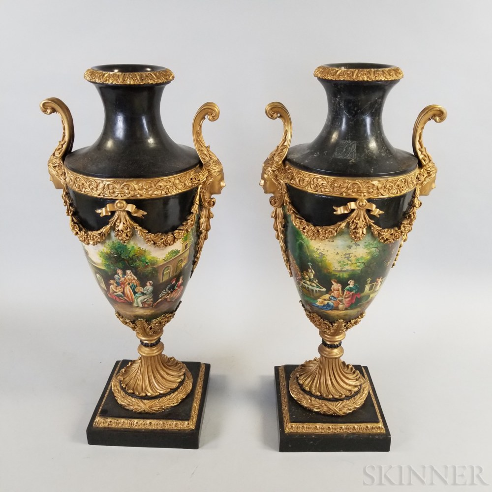 Pair of French-style Hand-painted Giltwood and Stone Urns