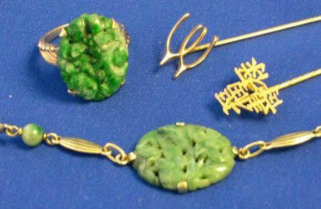 Two Gold Stickpins, Jadeite Ring, and Jadeite Bracelet.
