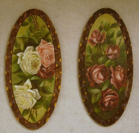 Pair of Oval 19th Century Rose Paintings with Pyrography Frames