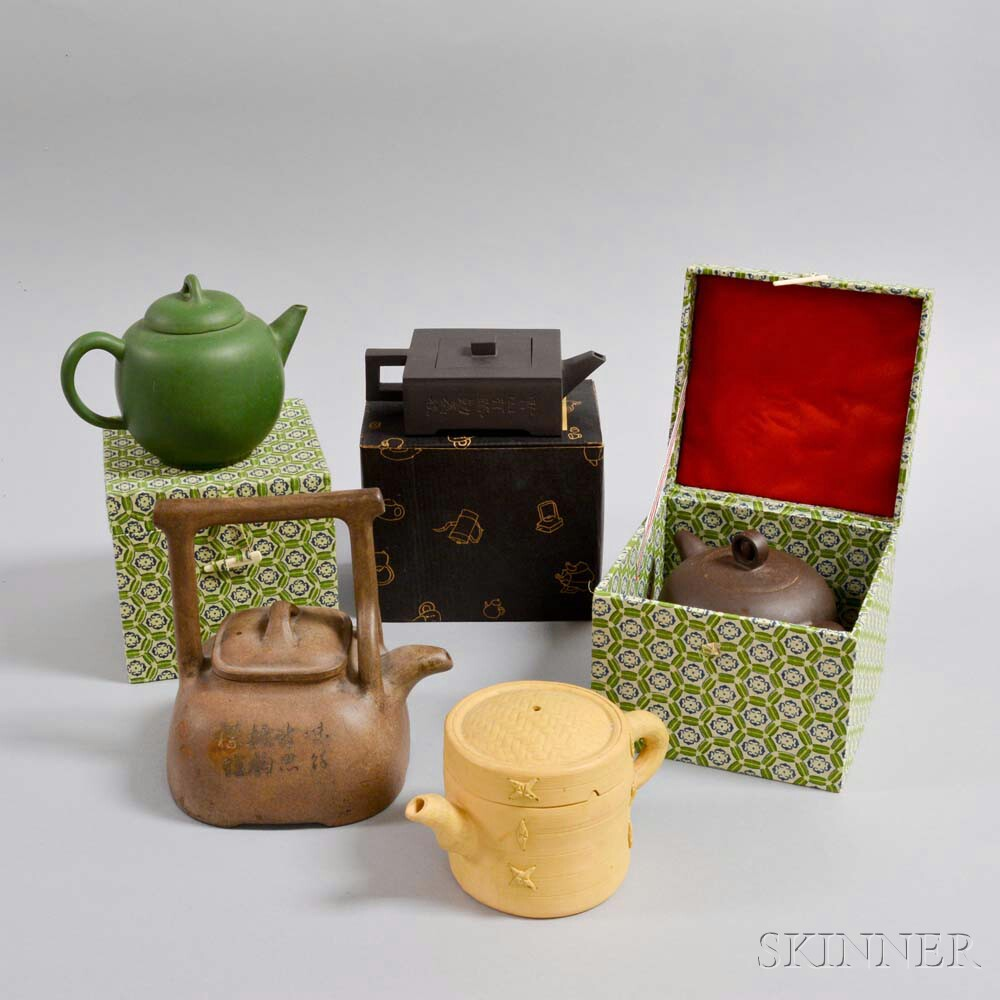 Five Japanese Pottery Teapots