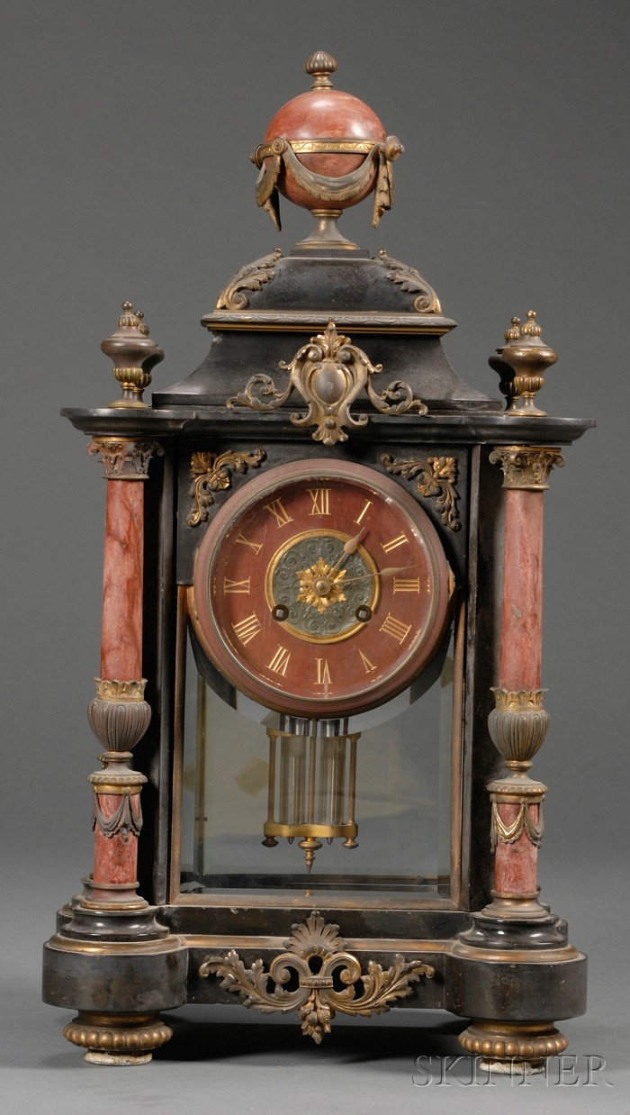 French Renaissance Revival Black and Rouge Marble Ormolu-mounted Mantel Clock
